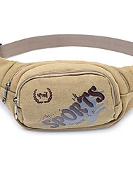 cheap -Men's Canvas Fanny Pack Canvas Bag Black / Army Green / Khaki