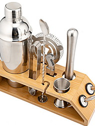 cheap -Cocktail Shaker Mixer and Wood Base Ship Shape Set Of 10 Cocktail Tools Stainless Steel 550ml
