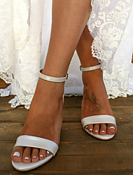 cheap -Women's Wedding Shoes Pumps Open Toe Basic Boho Wedding Party & Evening Solid Colored PU Summer White / Ivory