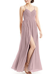 cheap -A-Line Spaghetti Strap Floor Length Chiffon Bridesmaid Dress with Split Front