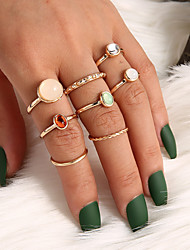 cheap -Women's Ring Midi Rings 8pcs Gold Alloy Irregular Classic Elegant Trendy Party Evening Gift Jewelry Classic Blessed