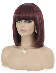 cheap -Remy Human Hair Wig Short Natural Straight Pixie Cut Burgundy Best Quality Capless Brazilian Hair Women's Dark Wine 10 inch