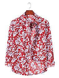 billige -Herre Grafisk Trykt mønster Skjorte Basale Daglig Weekend Blå / Rød