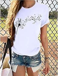 cheap -Women's T shirt Butterfly Graphic Prints Round Neck Tops 100% Cotton Basic Top Cat White Blue