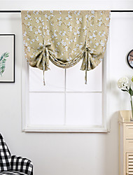 cheap -Floral Print Lined Flower Leaf Tie Up Curtain Thermal Insulated Blackout Window Adjustable Balloon Curtain Shade Rod Pocket 1 Piece