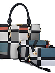 cheap -Women's Bags PU Leather Leather Bag Set 3 Pcs Purse Set Zipper Daily Outdoor Bag Sets 2021 Handbags Black Blue Red Green