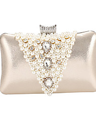 cheap -Women's Bags Polyester Satin Evening Bag Pearls Crystals Wedding Bags Party Event / Party Milky White