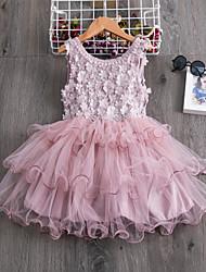 cheap -Kids Little Girls' Dress Geometric Flower Party Wedding Tutu Dresses Embroidered White Blue Blushing Pink Knee-length Sleeveless Elegant Princess Dresses