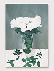 رخيصةأون -ياردة&ريج ؛ من ناحية رسم لوحة زيتية زهرة بيضاء مع إطار ممتد للديكور المنزلي