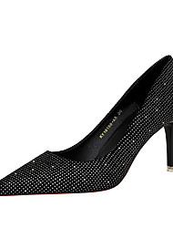 cheap -Women's Heels Fall / Winter Pumps Pointed Toe Sexy Party & Evening Rhinestone Solid Colored Suede Black