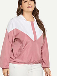 cheap -Women's Jacket Daily Regular Color Block Blushing Pink L / XL / XXL