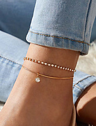 cheap -Anklet Luxury Vintage Fashion Women's Body Jewelry For Anniversary Party Evening Layered Crystal Alloy Gold 1 Piece