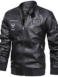 cheap -Men's Stand Collar Faux Leather Jacket Regular Letter Daily Print Long Sleeve Black Yellow Brown US32 / UK32 / EU40 US34 / UK34 / EU42 US36 / UK36 / EU44 US38 / UK38 / EU46 / Sports