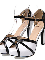 cheap -Women's Heels Spring / Summer Pumps Peep Toe Casual Sexy Sweet Daily Party & Evening Buckle Color Block PU White / Black / Red