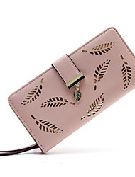 cheap -Women's Bags PU Leather Wallet Hollow-out Floral Print Holiday Pink Black Blue khaki