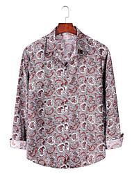 billige -Herre Grafisk Trykt mønster Skjorte Basale Daglig Rød / Gul