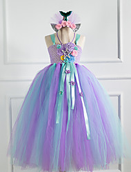 cheap -Mermaid Cosplay Costume Party Costume Girls' Movie Cosplay Retro New Year's Purple Dress Headwear Christmas Halloween Carnival Polyester / Cotton Polyester