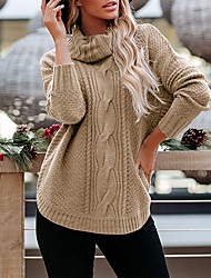 cheap -Women's Casual / Daily Knitted Solid Colored Pullover Acrylic Fibers Long Sleeve Loose Sweater Cardigans Turtleneck Fall Winter White Black Purple