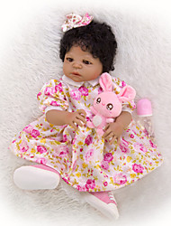 cheap -KEIUMI 22 inch Black Dolls Reborn Doll Baby & Toddler Toy Reborn Toddler Doll Baby Girl Gift Cute Washable Lovely Parent-Child Interaction Full Body Silicone 23D45-C184-H06-S12-S24-T21 with Clothes