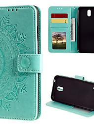 cheap -Phone Case For Nokia Full Body Case Leather Flip Nokia 7 Plus Nokia 1 Nokia 1.3 Card Holder Flip Pattern Flower / Floral PU Leather TPU