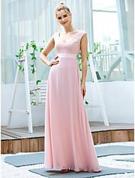 preiswerte -A-Linie Elegant Retro Hochzeitsgast Formeller Abend Kleid V-Ausschnitt Ärmellos Boden-Länge Chiffon mit Schärpe / Band Stickerei 2020