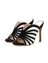 رخيصةأون -نسائي صنادل الصيف Pumps أحذية أصبع القدم مناسب للبس اليومي مخطط PU أسود