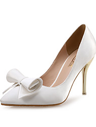cheap -Women's Wedding Shoes Pumps Pointed Toe Wedding Party & Evening Satin Bowknot White Black Red