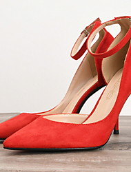 cheap -Women's Heels Spring / Summer Stiletto Heel Pointed Toe Daily PU Black / Red
