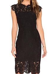 cheap -Women's Sheath Dress Knee Length Dress White Black Wine Dusty Blue Sleeveless Solid Color Summer Round Neck Casual 2021 S M L XL XXL