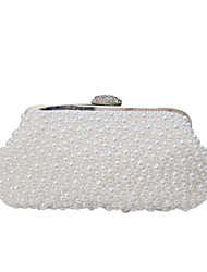 cheap -Women's Bags Synthetic Evening Bag Pearls Crystals Wedding Bags Party Event / Party White Beige