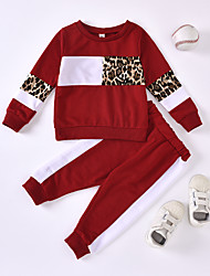cheap -Baby Girls' Active Chinoiserie Leopard Solid Colored Patchwork Print Long Sleeve Regular Regular Clothing Set Wine