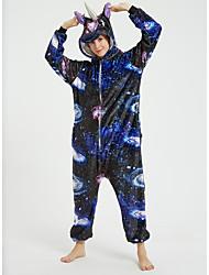 cheap -Adults' Kigurumi Pajamas Unicorn Flying Horse Onesie Pajamas Flannel Fabric Ink Blue Cosplay For Men and Women Animal Sleepwear Cartoon Festival / Holiday Costumes / Leotard / Onesie