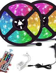 cheap -2x5M Light Sets RGB Strip Lights 600 LEDs SMD 2835 8mm 1 44Keys Remote Controller 1 DC Cables 1 X 12V 3A Power Supply 1 set RGB Christmas New Year's Waterproof Color Gradient TV Background 100-240 V