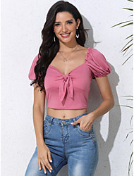 cheap -Women's Blouse Solid Colored Tops - Bow Boat Neck Sexy Going out Summer Blushing Pink XS S M L