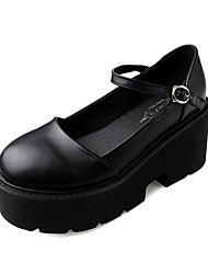 cheap -Women's Loafers & Slip-Ons / Lolita Shoes Spring / Summer Platform Round Toe Classic Vintage Daily PU Black