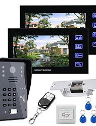 cheap -MOUNTAINONE 7 LCD Two Monitors  Video Door Phone Intercom System RFID Door Access Control Kit Outdoor Camera Electric Strike LockWireless Remote Control