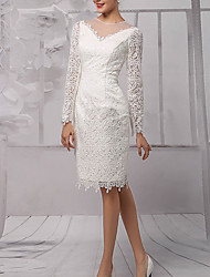 cheap -Sheath / Column Wedding Dresses Jewel Neck Knee Length Lace Tulle Long Sleeve Vintage 1950s with Lace Insert 2020
