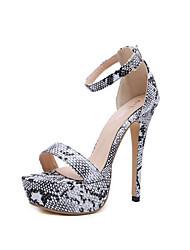 رخيصةأون -نسائي صنادل الصيف Pumps حذاء براس مدبب مناسب للبس اليومي ثعبان جلد محفوظ أسود