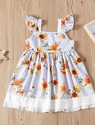 cheap -Kids Toddler Girls' Flower Cute Sun Flower Floral Lace Short Sleeve Knee-length Dress Blue