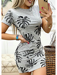 cheap -Women's T Shirt Dress Tee Dress Short Mini Dress Gray Short Sleeve Floral Summer Round Neck Hot Casual Sexy 2021 S M L XL