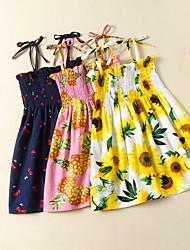 cheap -Kids Toddler Girls' Flower Cute Pineapple Cherry Sun Flower Floral Fruit Lace up Print Sleeveless Knee-length Dress Yellow