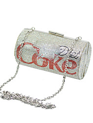 cheap -Women's Bags Polyester Evening Bag Crystals Chain for Wedding / Party / Event / Party Red / Silver / Wedding Bags