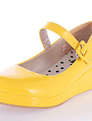 cheap -Women's Flats / Lolita Shoes Spring / Summer Wedge Heel Round Toe Classic Vintage Daily PU White / Black / Yellow