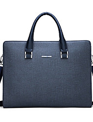 cheap -Men's Bags PU Leather Laptop Bag Briefcase Top Handle Bag Belt Zipper Handbags Daily Office & Career Black Blue