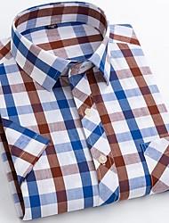 billige -Herre Ternet Blå & Hvid Skjorte Basale Hawaiiansk Daglig Weekend Blå