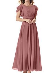 cheap -A-Line Jewel Neck Floor Length Chiffon Bridesmaid Dress with Sash / Ribbon / Pleats