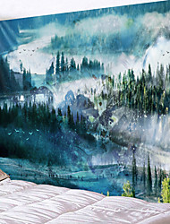 cheap -Oil Painting Style Wall Tapestry Art Decor Blanket Curtain Hanging Home Bedroom Living Room Decoration Landacape Rural Forest River Mountain