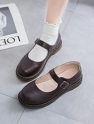 cheap -Women's Lolita Shoes Summer Flat Heel Round Toe Daily Solid Colored PU Black / Brown