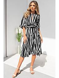 cheap -Women's A-Line Dress Knee Length Dress - Half Sleeve Striped Summer Casual 2020 Black Blue Yellow S M L XL