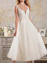 cheap -A-Line Wedding Dresses Jewel Neck Ankle Length Lace Tulle Sleeveless Vintage 1950s with 2020